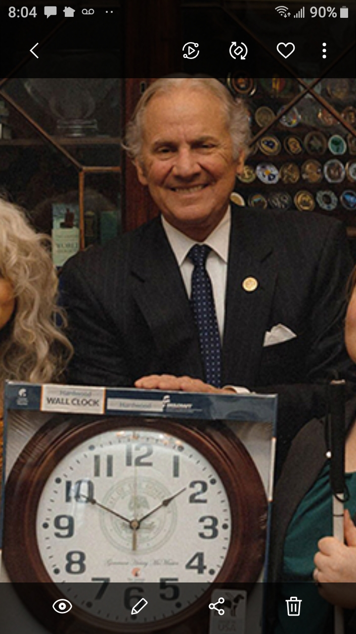 South Carolina Lions Club members pose with USC Adjunct Professor Dominic Calabrese as he showcases the Lighthouse clock he presented to the Governor. Shown left to right are First Vice District Governor Judy Scott, Lion Trey Dymock, Dominic and Secon